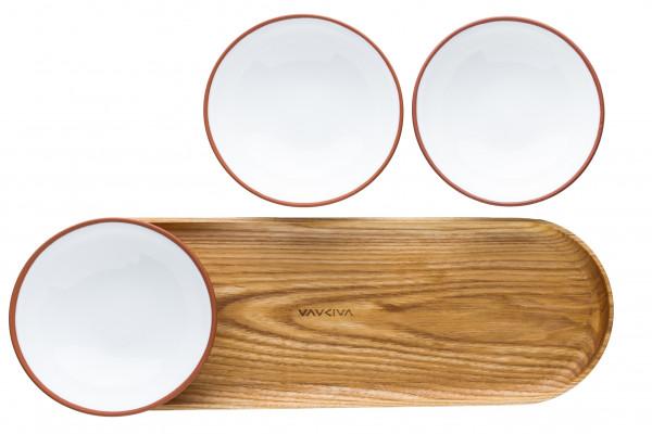 VAIDAVA EARTH Schalen Set - 3 Schalen 0,2 liter und Holztablett in verschiedenen Farben